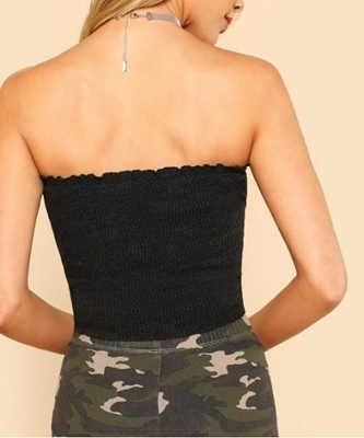 Picture of Lettuce Edge Crop Ribbed Bandeau Top