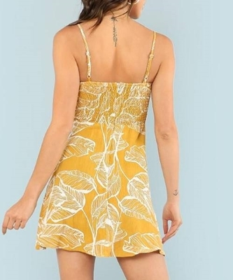 Picture of Tropical Print Button Embellished Cami Dress