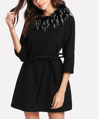 Picture of Detachable Faux Fur Collar Belted Dress