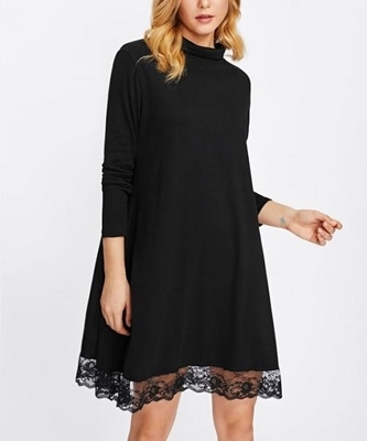 Picture of High Neck Lace Hem Dress