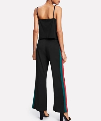 Picture of Contrast Stripe Panel Cami Top With Wide Pants