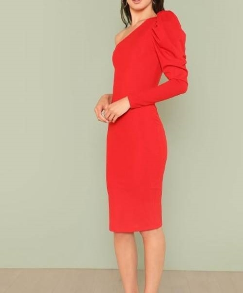 Picture of One Shoulder Puff Sleeve Solid Pencil Dress
