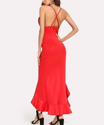 Picture of Deep V Neckline Dip Hem Maxi Cami Dress