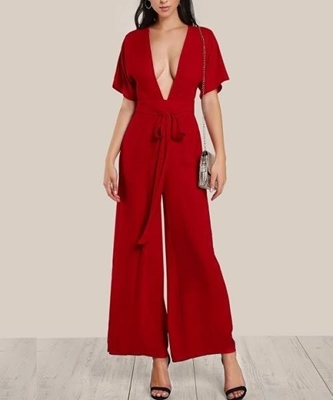 Picture of Self Tie Plunge Neck Kimono Sleeve Palazzo Jumpsuit