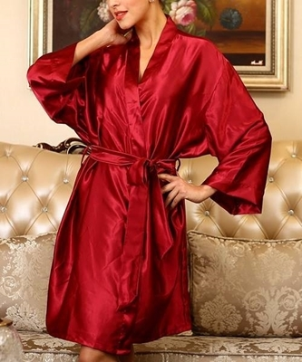 Picture of Red self tie Silk feel wrap robe