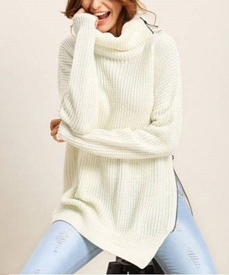 Picture of Lapel Zipper Detail Split Side Sweater