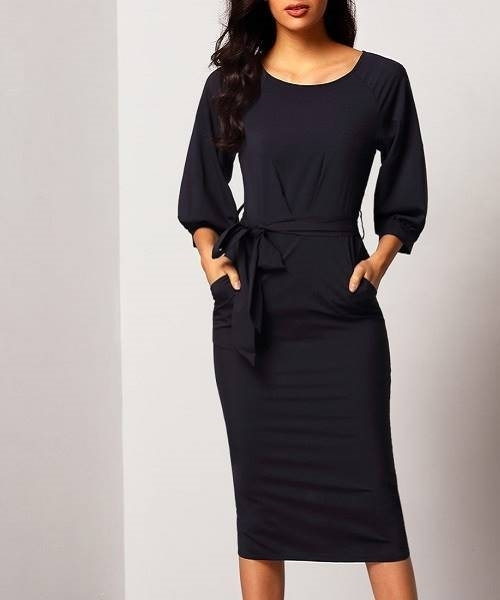 420cadede5 Picture of Elegant Puff Sleeve Dress With Belt