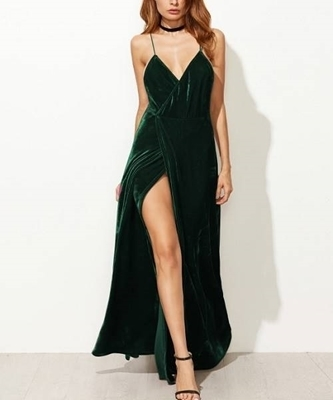 Picture of Strappy Backless Wrap Velvet Dress