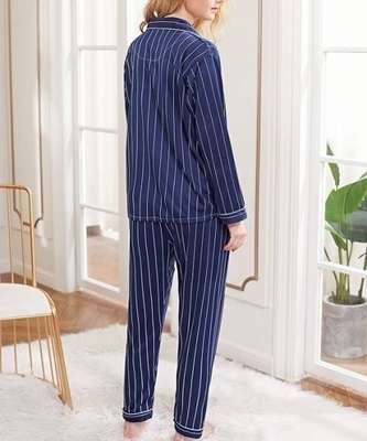 Picture of Contrast Binding Striped Sleepwear Set
