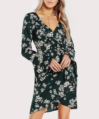 Picture of Bell Sleeve Surplice Wrap Floral Dress