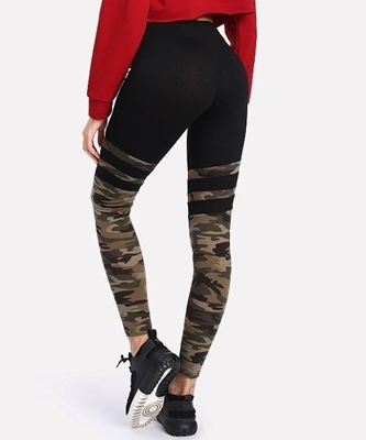 Picture of Camo Print Varsity Striped Leggings