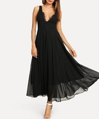 Picture of Contrast Lace Flowy Dress
