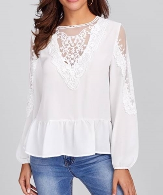 Picture of Embroidered Mesh Panel Lace Detail Frilled Top