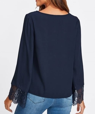 Picture of Crisscross Front Lace Trim Fluted Sleeve Top