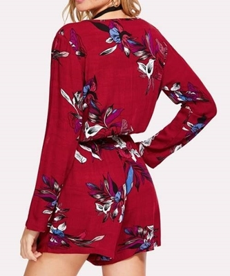 Picture of Botanical Print Surplice Neckline Romper