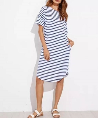Picture of Curve Hem Striped Tee Dress