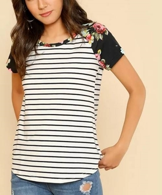 Picture of Floral Raglan Sleeve Striped Tee