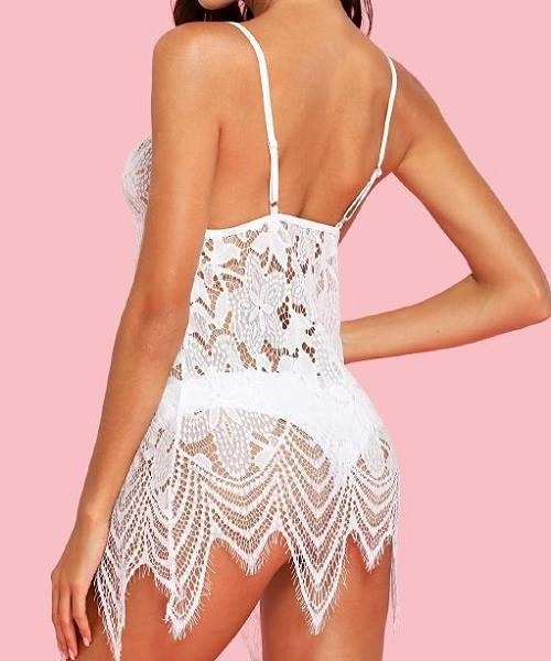 Picture of Asymmetric Lace Slips With Thong