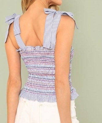 Picture of Self Tie Shoulder Shirred Striped Top