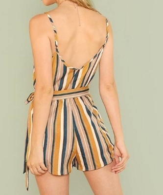 Picture of Striped Elastic Waist Wrap Cami Romper