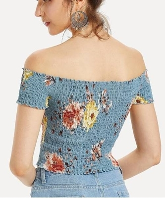 Picture of Flower Print Frill Trim Shirred Bardot Crop Top