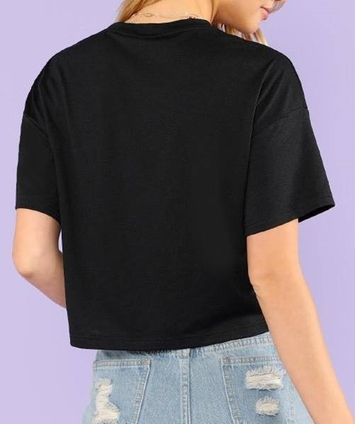 Picture of Striped Tape Detail Crop Tee
