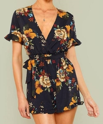 Picture of Flounce Sleeve Tie Waist Frill Trim Floral Romper