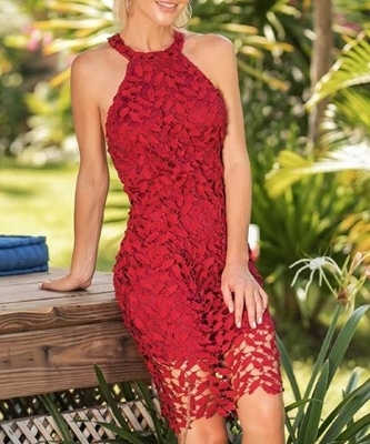 Picture of Floral Lace Hollow Out Halter Slim Dress