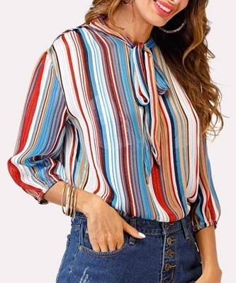 Picture of Multi Stripe Glitter Tie Neck Blouse