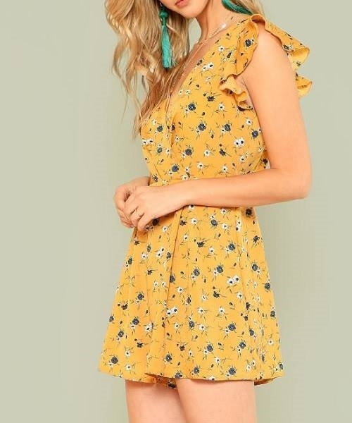 Picture of Flounce Shoulder Calico Print Wrap Romper