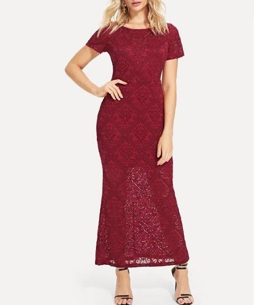 Picture of Burgundy V-Back Floral Lace Occasion Dress
