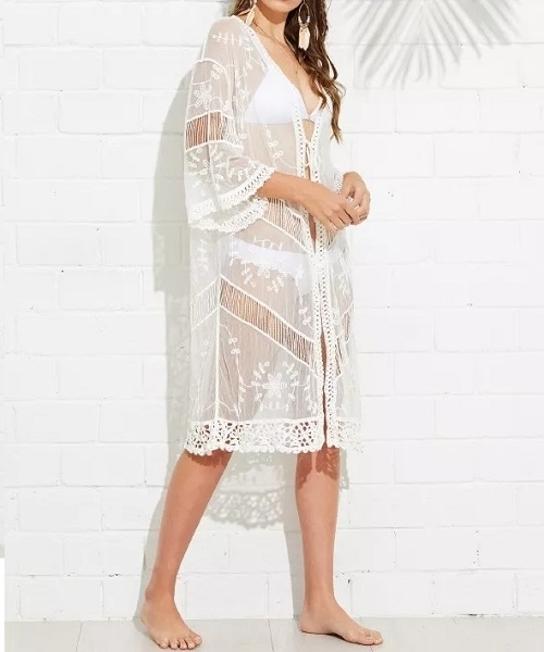 Picture of Insert Embroidery Lace Beach Kimono