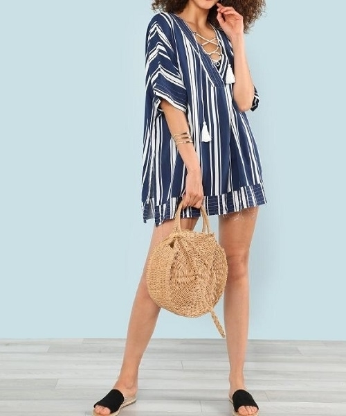 Picture of Striped Lace Up Beach Cover Up