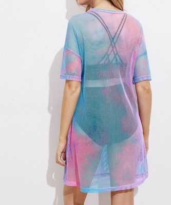Picture of Drop Shoulder Tie Dye Fishnet Cover Up Beach Dress