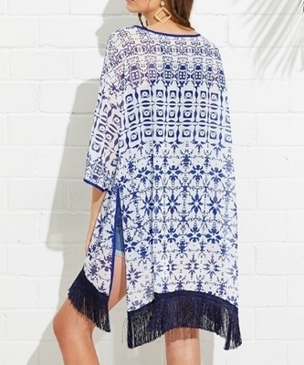 Picture of Blue Fringe Hem Split Side Printed Kimono