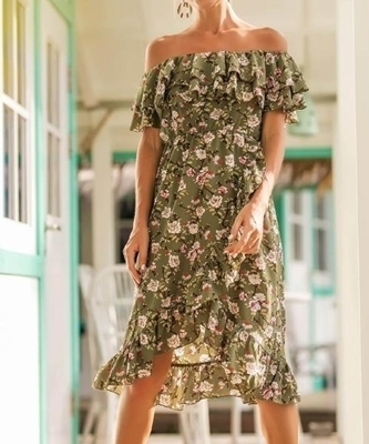 Picture of Off Shoulder Floral Print Dress