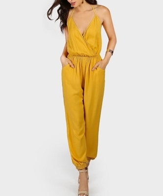 Picture of Halter Surplice Slanted Pocket Front Tapered Jumpsuit