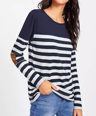 Picture of Contrast Elbow Patch Striped Tee