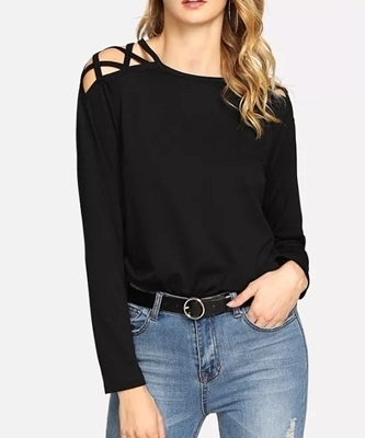 Picture of Crisscross Open Shoulder T-Shirt