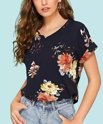Picture of Roll Up Sleeve Floral Top
