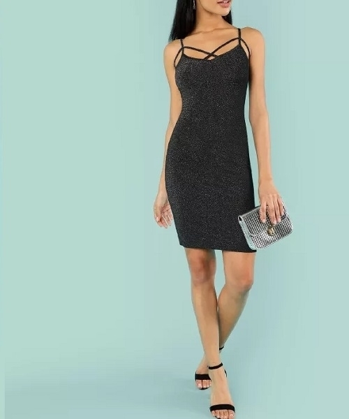 Picture of Crisscross Front Glitter Cami Party Cocktail Dress