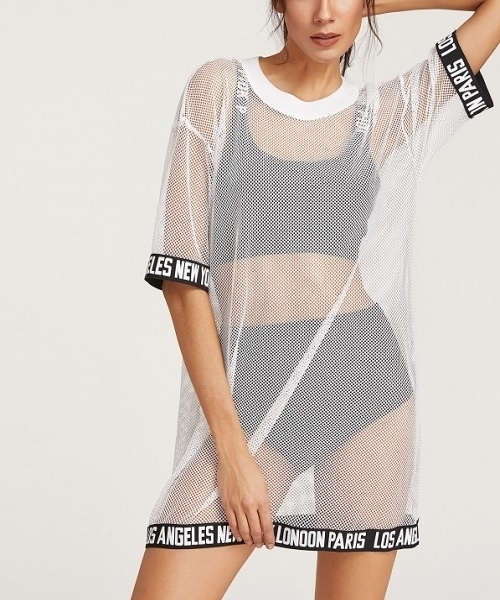 Picture of Logo Trim Cover Up Fishnet Tee Beach Dress