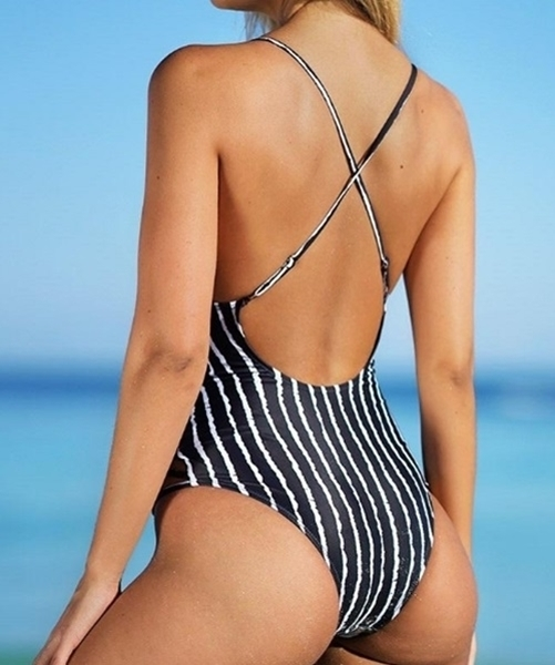 Picture of Striped Criss Cross One Piece Swimsuit