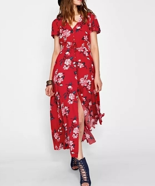 Picture of Floral Tasseled Tie Smocked Waist Maxi Long Dress