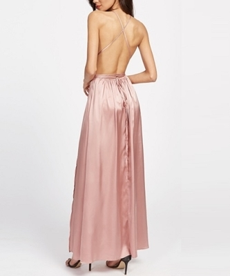 Picture of Pink Surplice Front Crisscross High Slit Cami Dress