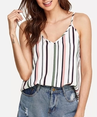 Picture of Double V Neck Striped Cami Top