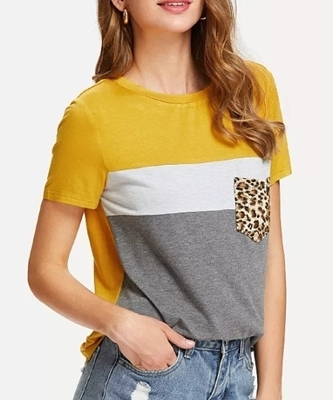 Picture of Detail Leopard Pocket Patched Top