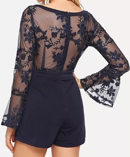 Picture of Bell Sleeve Lace Bodice Party Romper