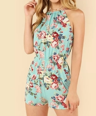 Picture of Floral Print Halter Sleeveless Romper