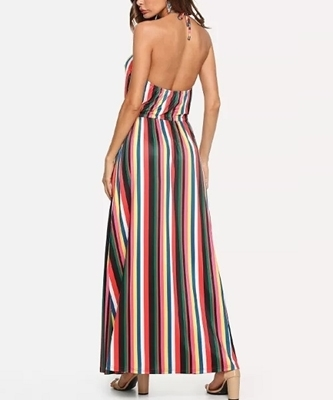 Picture of Halter Striped Drawstring Waist Maxi Dress
